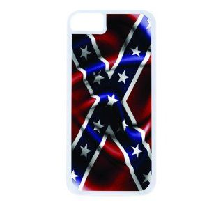 Rebel Confederate Flag White Tough Plastic Outer Case with Black Rubber Lining for Apple Iphone 5 (Double Layer Case with Silicone Protection), Iphone 5s Universal Verizon   Sprint   At&t   Great Affordable Gift Cell Phones & Accessories