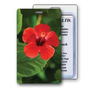 Lenticular Standard Luggage Tag Clear Plastic Loop, 3D Hawaiian Hibiscus Flower Clothing