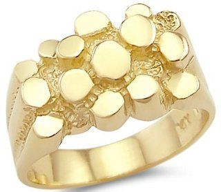 New 14k Solid Yellow Gold Large Mens Ladies Nugget Ring Right Hand Rings Jewelry