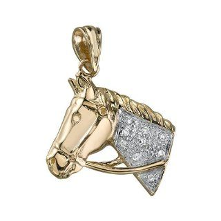 14kt Yellow Gold Horse Head Diamond Pendant Jewelry