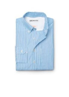 H.E. By Mango Men's Slim Fit Striped Cotton Shirt, Blue, S at  Men�s Clothing store Button Down Shirts