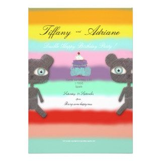 Twins Happy Birthday Teddy Bear  Invitation