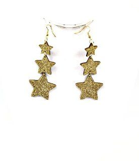 Gorgeous Wooden Star Design Earrings, w/ Fish Hook Wire, Summer, Fun, Fashion (GOLD) Dangle Earrings Jewelry