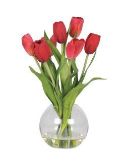 House of Silk Flowers Artificial Red Tulips in Glass Vase   Artificial Mixed Flower Arrangements