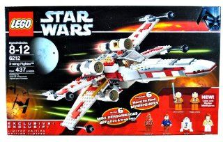 Lego Year 2006 Star Wars Series Vehicle Set #6212   X WING FIGHTER with S Foil Wings, Folding Landing Gear and Cargo Hold Plus 6 Hard to Find Minifigures Luke Skywalker, Wedge Antilles, Chewbacca, Han Solo, R2 D2 and Princess Leia (Total Pieces 437) Toys