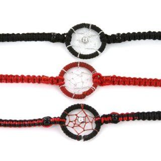 Dream Catcher Hand Woven Bracelets   Black, Green, and Rasta Colors   Ideal Friendship Bracelets   Sold in a set of 3 Jewelry