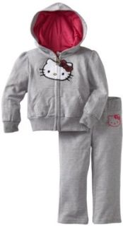 Hello Kitty Baby girls Infant Different Colored Hood Sweatsuit Set, Heather Grey, 12 Months Clothing