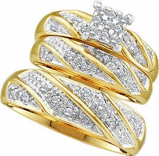 Men's Ladies 10K Yellow Gold 0.27 Ct. Round Diamond Engagement Ring Wedding Band Bridal Trio Set Jewelry