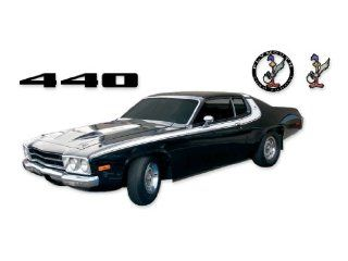 1973 1974 Road Runner 440 Strobe Roof COMPLETE Decals & Stripes Kit   WHITE Automotive