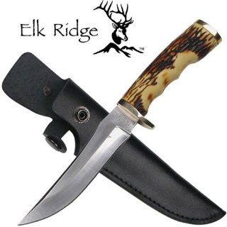 "ER 027. Elk Ridge Hunter. 9"" Overall Simulated Bone Handle. 9"" overall with a 440 stainless steel blade and simulated bone handle. Includes genuine black leather sheath. This hunting knife is just right no matter if you hunt small or large game K"