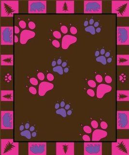 Pink Purple Paw Prints Design Fleece Blanket Throw, Polyester, 50x60 inch, Grey Black
