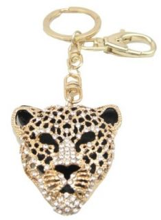 Gold Leopard Mask Crystals Rhinestone Handbag Purse Charm / Key Chain Keyring Holder Clothing