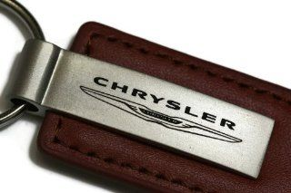 Chrysler Brown Leather Key Fob Authentic Logo Key Chain Key Ring Keychain Lanyard Automotive