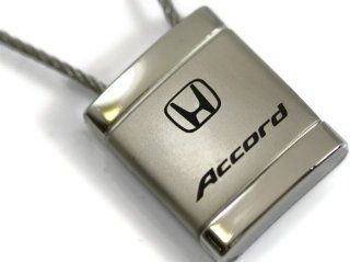 Honda Accord Satin Chrome Cable Key Fob Authentic Logo Key Chain Key Ring Keychain Lanyard Automotive