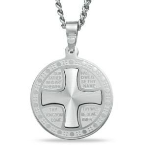 Mens Lords Prayer Round Cross Pendant in Stainless Steel   24