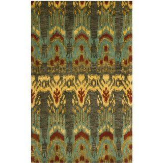 Safavieh Ikat Collection IKT464B Square Area Rug, 6 Feet Square, Olive and Gold   Moroccan Style Rug