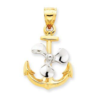 Genuine 14K Yellow Gold Two Tone 3 D Anchor & Moveable Propeller Pendant 5.5 Grams Of Gold Mireval Jewelry