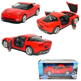 Welly 1/24 Scale Die cast Collection 2007 Chevy Corvette Z06, Red. Toys & Games