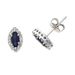 0.76CTW 14K White Gold Genuine Natural Blue Sapphire and Diamond Stud Earrings Jewelry