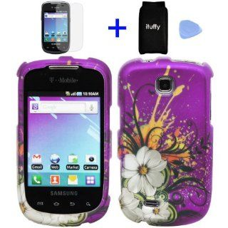 (4 items Combo Accessories Pouch, Screen Protector Film, Case Opener, Graphic Case) Purple Hawaiian White Flower Green Vine Design Rubberized Snap on Hard Cover Protector Shell Faceplate Skin Case for T Mobile Samsung Dart T499 / TASS T 499 Cell Phones &