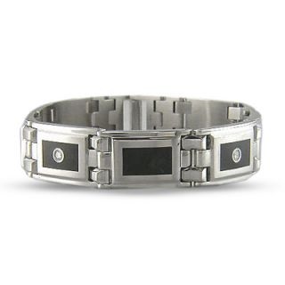 Mens Stainless Steel and Enamel Bracelet with Diamond Accents   Zales