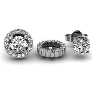 0.30 Carat (ctw) 14k White Gold Round White Diamond Cluster Style Removable Jackets for Stud Earrings 1/3 CT Jewelry