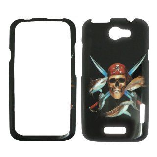 HTC ONE X / 1 X AT&T   Pirate Skull Swords and Fish on Black Shinny Gloss Finish Hard Plastic Cover, Case, Easy Snap On, Faceplate. Cell Phones & Accessories