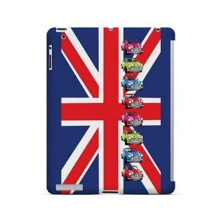 [Geeks Designer Line] Multi Mini Coopers on Union Jack Apple iPad 2nd Gen Plastic Case Cover [Anti Slip] Supports Premium High Definition Anti Scratch Screen Protector; Durable Fashion Snap on Hard Case; Coolest Ultra Slim Case Cover for iPad 2nd Gen Suppo