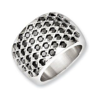 Chisel Stainless Steel Black CZs Polished Ring Jewelry