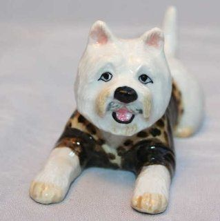 WESTIE Dog WEST HIGHLAND WHITE Terrier lays n LEOPARD Sweater New MINIATURE Figurine Porcelain KLIMA L504D   Collectible Figurines