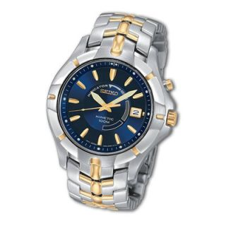 Mens Seiko Kinetic® Two Tone Stainless Steel Watch with Blue Dial