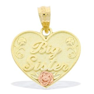 Big Sister Rose Heart Necklace Charm in 10K Two Tone Gold   Zales