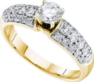Wedding set 1.0ctw diamond 0.40ctw round center ladies bridal ring real Diamond Yellow gold 14K real new Jewelry