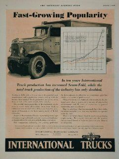 1930 Ad International Harvester Truck Production Growth   Original Print Ad