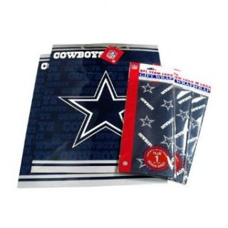 Dallas Cowboys NFL Large Gift Bags (2) & Flat Gift Wrap (3) Pack #2 Clothing