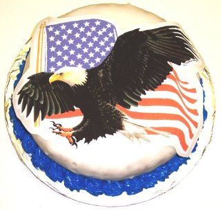 "Chocolate Chip Decorated Cake Single Layer 8"" RoundTopped with American Eagle Edible Image  Grocery & Gourmet Food"