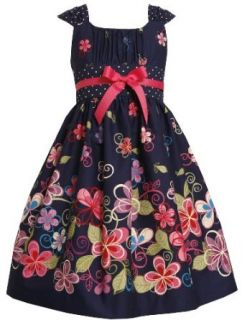 Bonnie Jean Girls 2 6X Flower Print Dress with Satin Bow, Navy, 4 Special Occasion Dresses Clothing