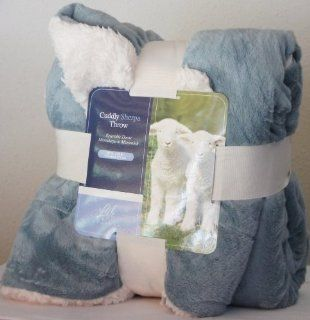 Cuddly Sherpa Reversible Throw / Plush Blanket Light Teal Ivory