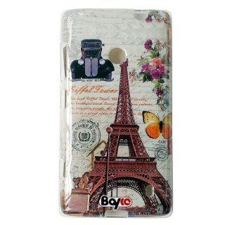 Bayke Brand / Nokia Lumia 520 / 521 Smart Phone Flexible Rubber Skin Clear Crystal Soft TPU Protective Snap on Slim Case Cover (Eiffel Tower Car Poster Pattern) Cell Phones & Accessories