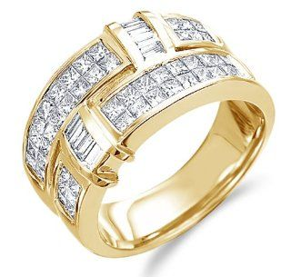 Size   11   14k Yellow Gold Diamond Wedding Anniversary Band Ladies Womens Invisible Channel Set Princess Cut Baguette Diamond Ring (1.50 cttw) Jewelry