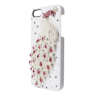 Leegoal(TM) White 3D Pearl Bling Peacock Crystal Diamond Rhinestone Hard Case Cover fit for the new iPhone 5 5S With Accessories Sreen Protector,Anti Dust Plug Cell Phones & Accessories