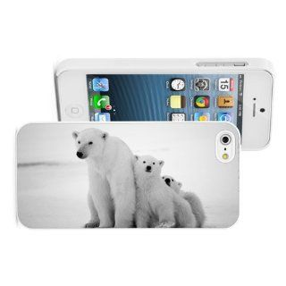 Apple iPhone 4 4S 4G White 4W529 Hard Back Case Cover Color Cute Polar Bear with Cubs Cell Phones & Accessories