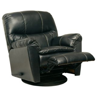 Catnapper Cosmo Black Bonded Leather Swivel Recliner Chair