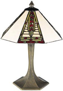 Dale Tiffany 7585/532 Mini Dana Table Lamp, Antique Brass and Art Glass Shade