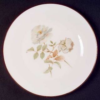 Royal Doulton Yorkshire Rose Salad Plate, Fine China Dinnerware   White/Gray Ros