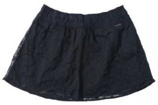 Abercrombie & Fitch Women's Embroidered Chiffon Lace Mini Skirt (Navy Blue) (Large)