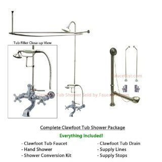 Chrome Clawfoot Tub Faucet Shower Kit with Enclosure Curtain Rod 550T1CTS   Clawfoot Bathtubs