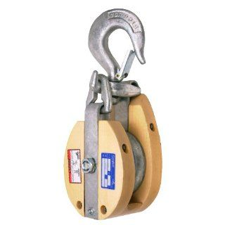 "Campbell 3071V 8"" Single Wood Drop Link Snatch Block with Stiff Swivel V Latch Hook, 4800 lbs Load Capacity, 4 1/2"" Sheave"