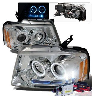 High Performance Xenon HID Ford F150 Halo LED Projector Headlights with Premium Ballast (Chrome Housing w/ Clear Lens & 6000K HID Lighting Output) Automotive