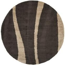 Ultimate Cream/ Dark Brown Shag Rug (6' 7 Round) Safavieh Round/Oval/Square